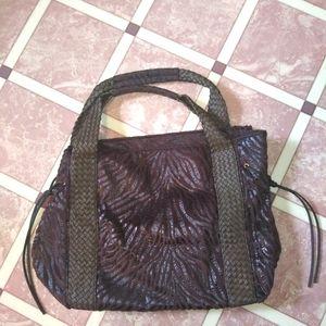 NWOT Braciano Large Animal Print Leather Tote